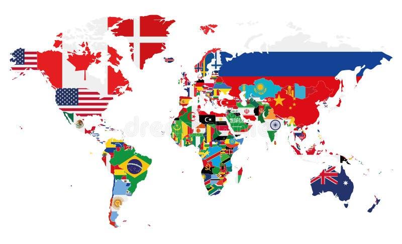 Политическая иллюстрация вектора карты мира с флагами всех стран иллюстрация вектора