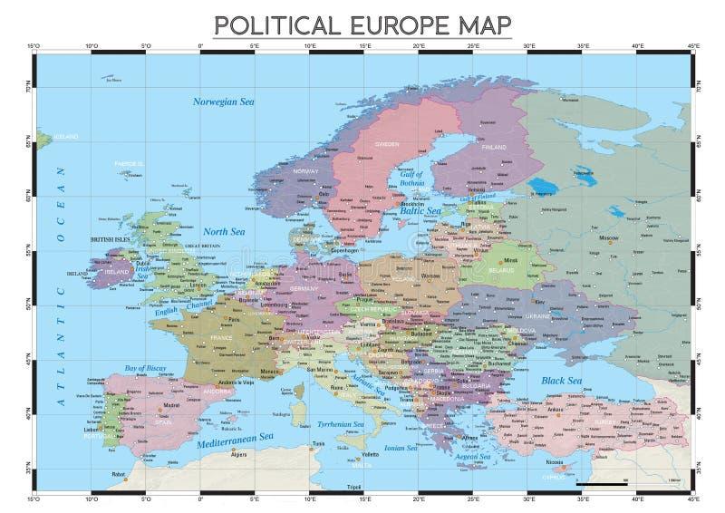 Политическая карта Европы стоковая фотография