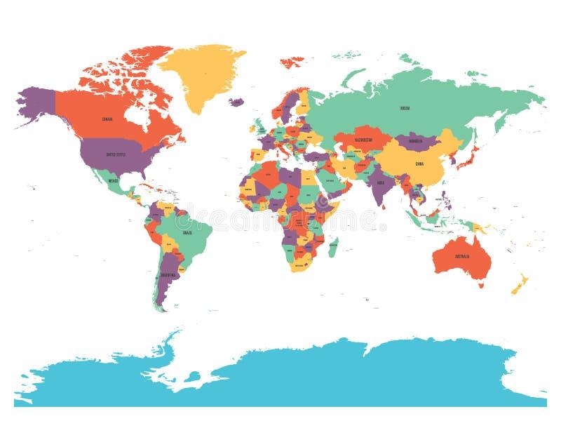 Политическая карта мира с Антарктикой Страны в 4 других цветах без границ на белой предпосылке черный иллюстрация штока