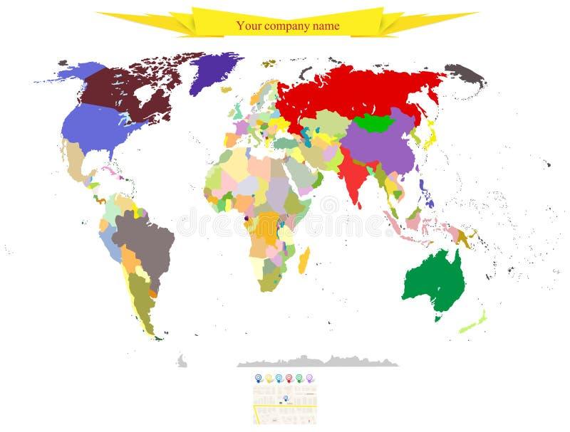 Политическая карта черноты локомотива предпосылки вектора мира бесплатная иллюстрация