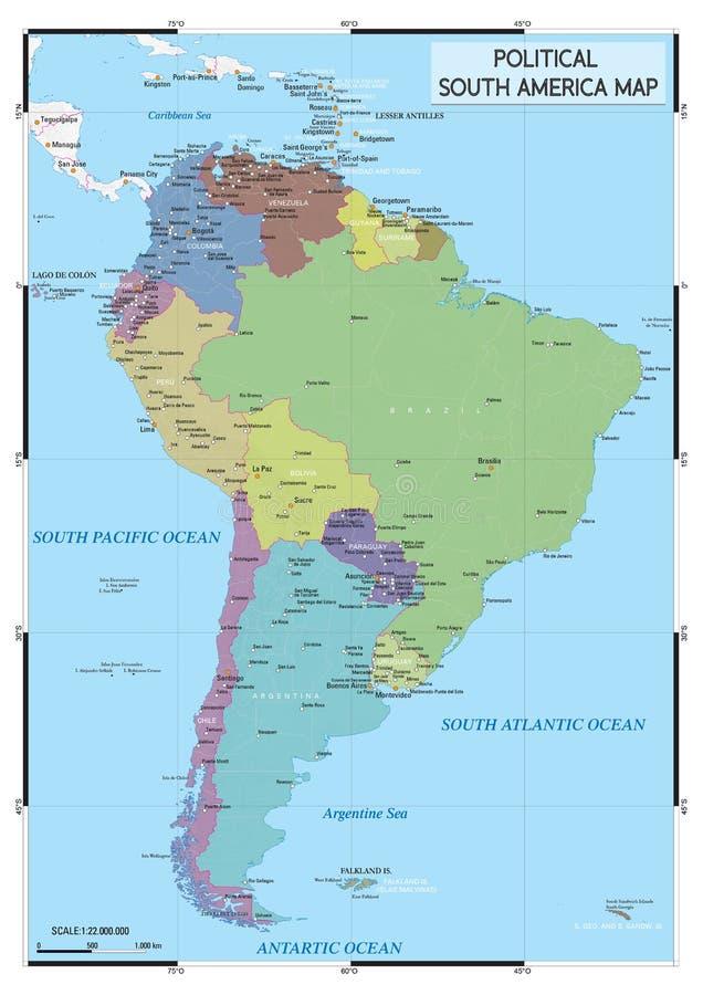 Политическая карта Южной Америки стоковое фото rf