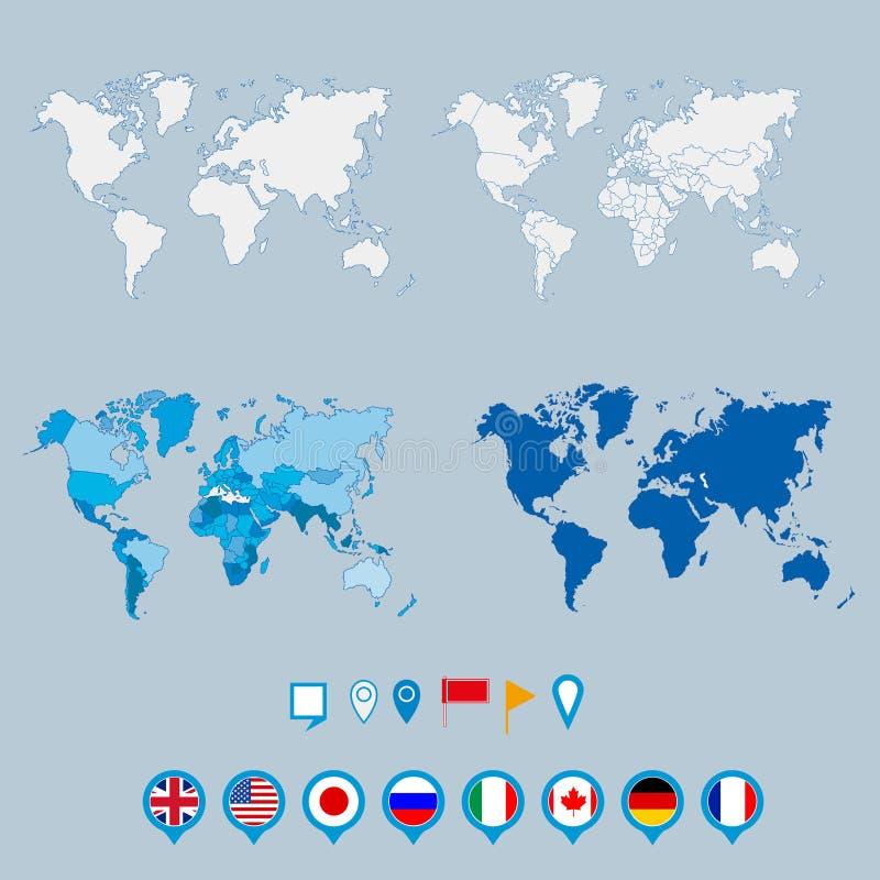 Политические карта мира и geo маркируют указатели штыря бесплатная иллюстрация