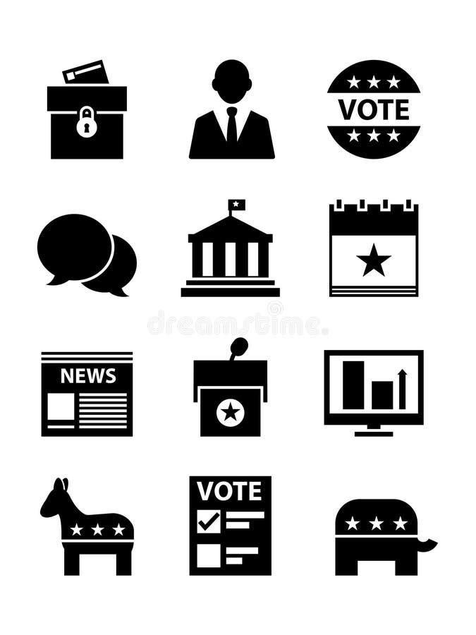 Политические установленные значки иллюстрация вектора