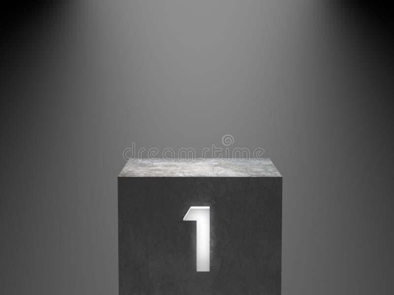 Подиум пустого победителя конкретный при неон одно накаляя светлый на предпосылке фары перевод 3d бесплатная иллюстрация