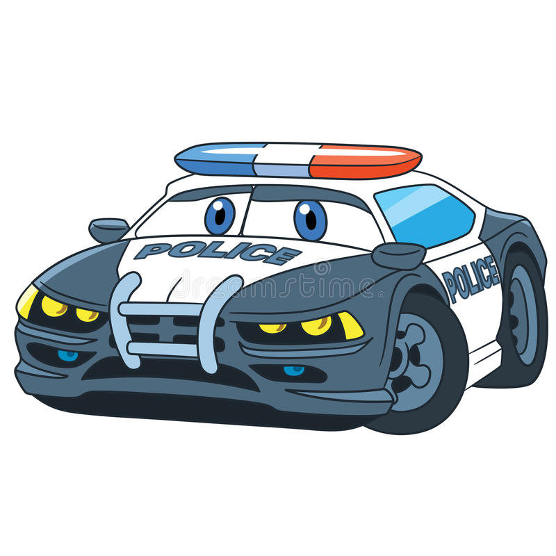 Полицейская машина шаржа иллюстрация вектора