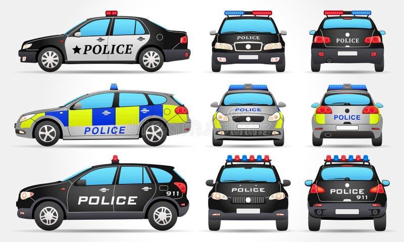 Полицейские машины - сторона - фронт - задний взгляд иллюстрация вектора