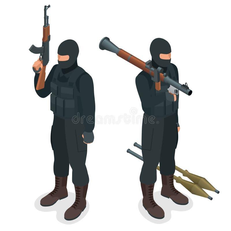 Полицейские СВАТ ops спецификаций в черной форме Солдат, офицер, снайпер, блок спецоперации, СВАТ плоское 3d равновеликое бесплатная иллюстрация