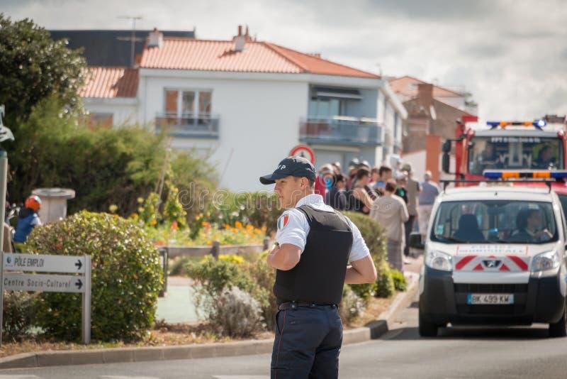 Полицейский во время парада стоковая фотография rf