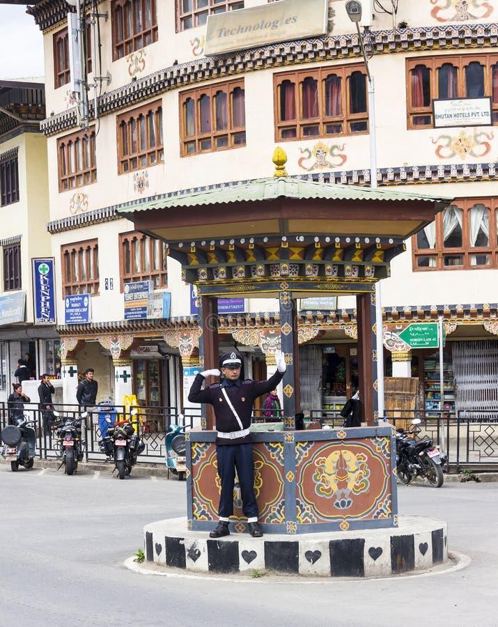 Полицейский в Thimpu стоковое изображение