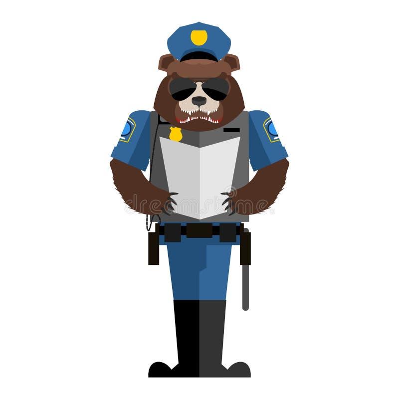 Полицейский медведя Полиция дикого животного формирует Крышка и бронежилет gri бесплатная иллюстрация