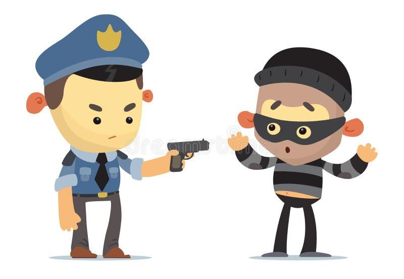 Полиция и похититель иллюстрация вектора