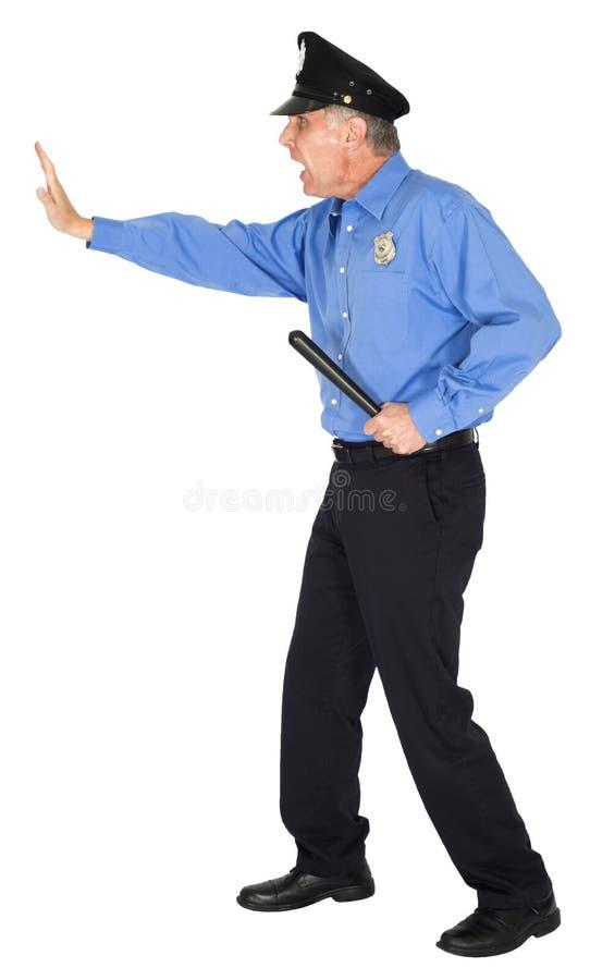 Полиция, полисмен, охранник, похититель стопа! Изолированный стоковое фото rf