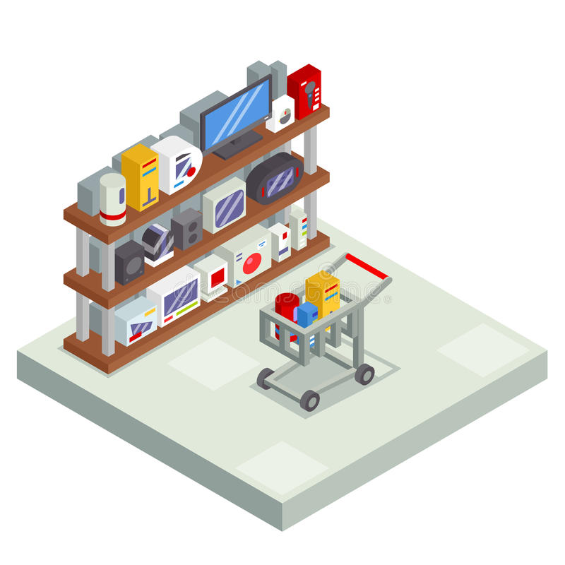 Полка комнаты покупок внутренняя с значком рынка магазина продажи предложения надувательства дела магазина тележки вагонетки това иллюстрация штока