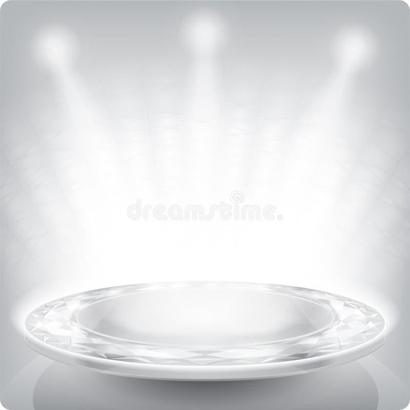 полка пустой выставки eps10 круглая 3d Фасетка искры иллюстрация штока