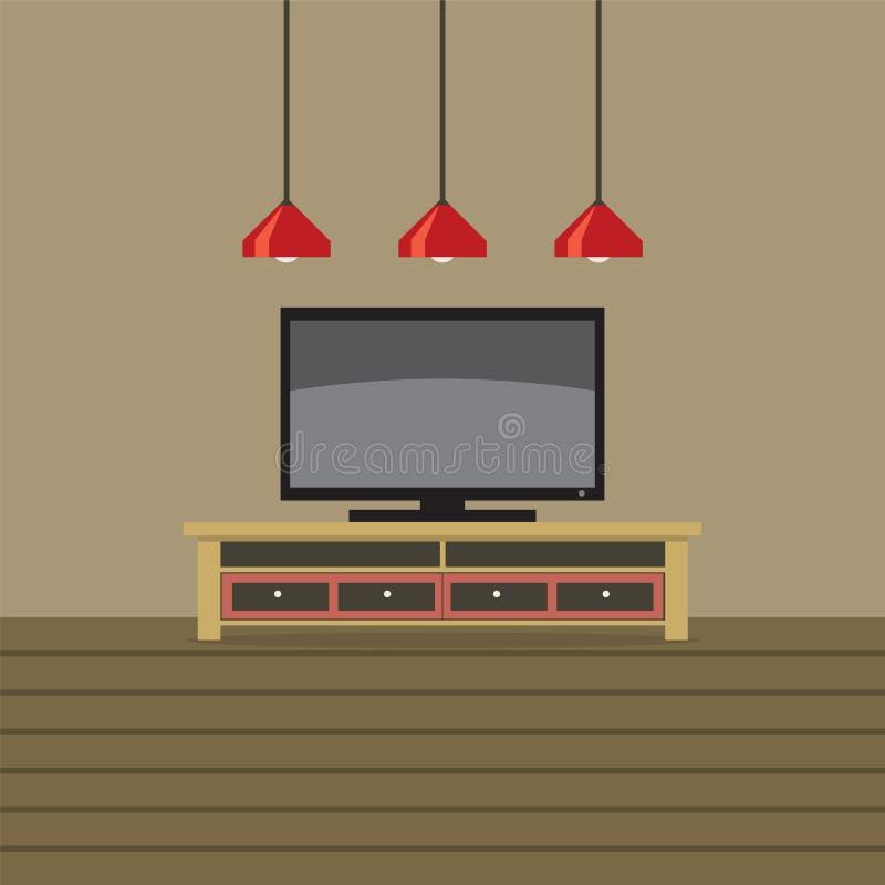 Полка ТВ с потолочными освещениями иллюстрация штока