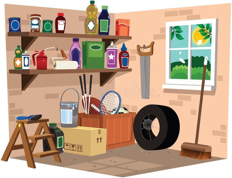 Полки гаража иллюстрация вектора