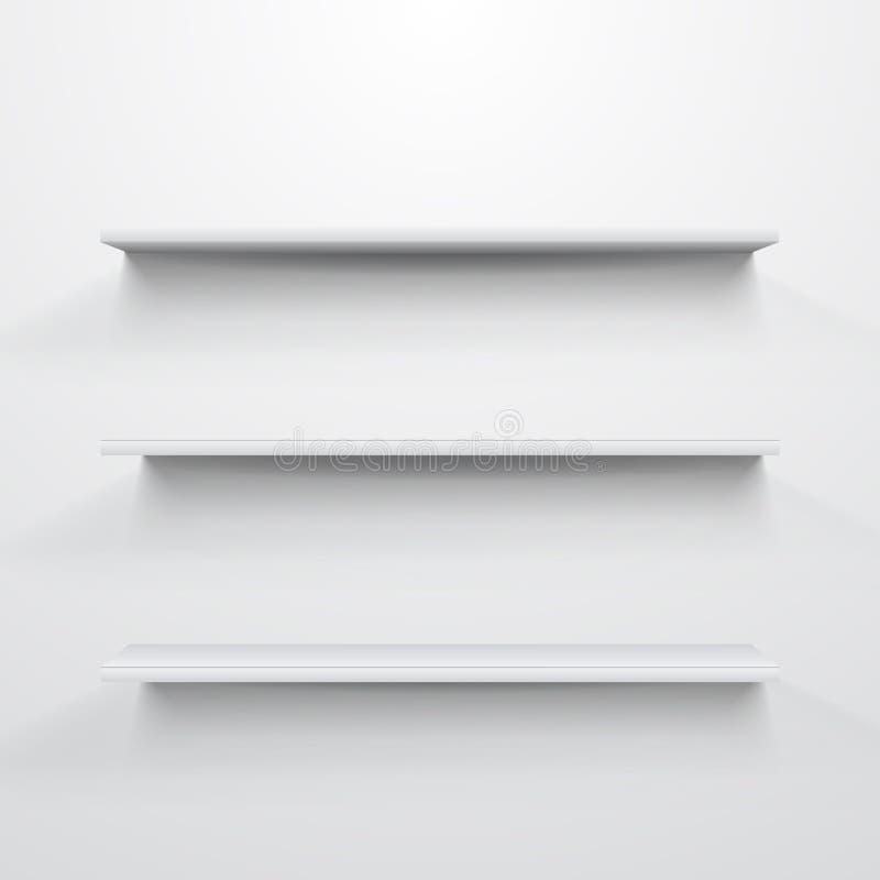 полки предпосылки пустые серые светлые белые иллюстрация вектора
