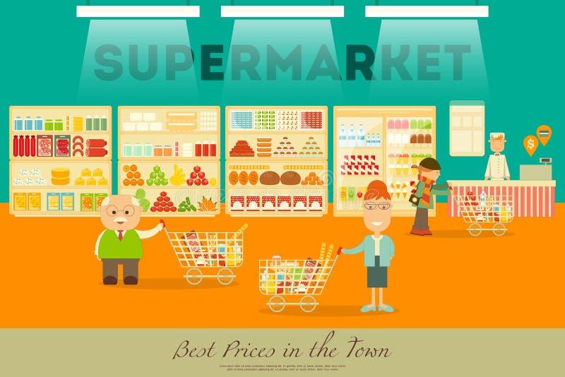Полки супермаркета с продуктами иллюстрация вектора