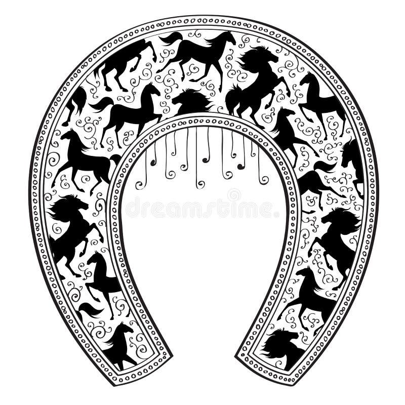 Подкова с картиной лошади также вектор иллюстрации притяжки corel иллюстрация штока