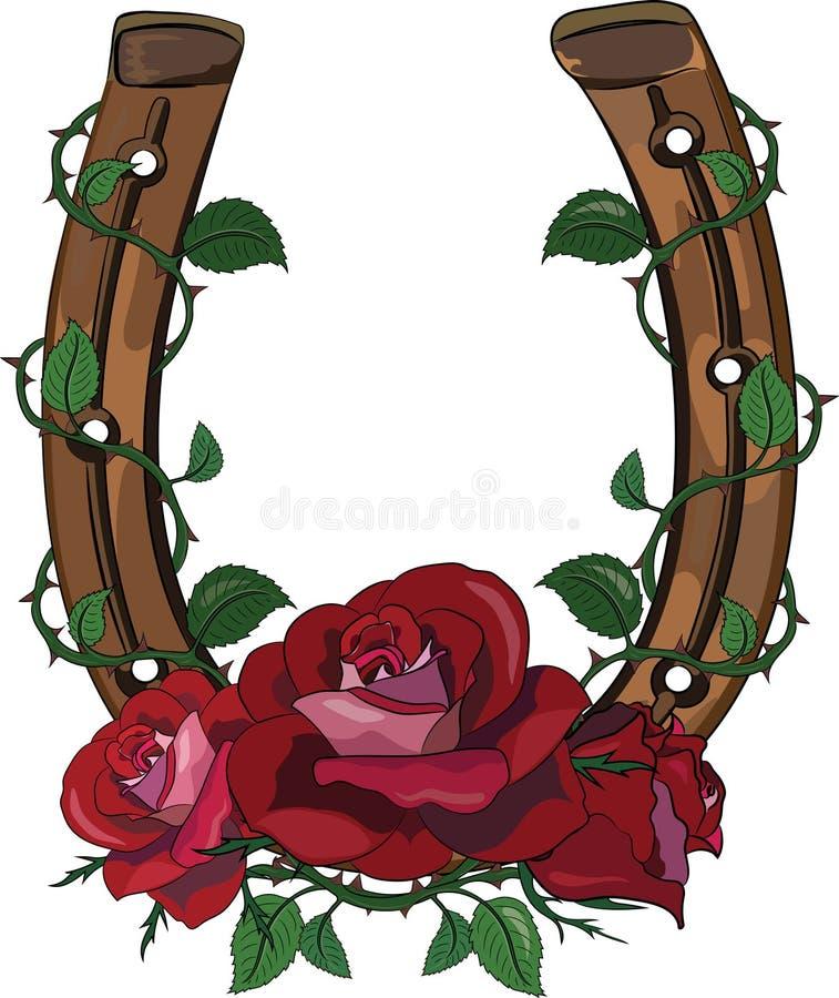 Подкова entwined с розами иллюстрация вектора