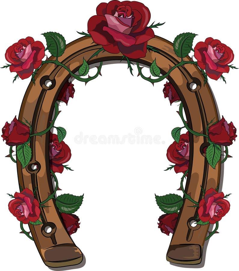Подкова entwined с розами бесплатная иллюстрация