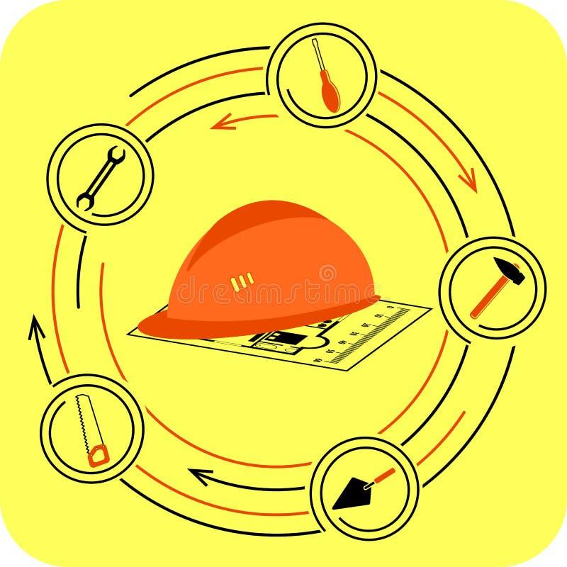 Под конструкцией иллюстрация вектора
