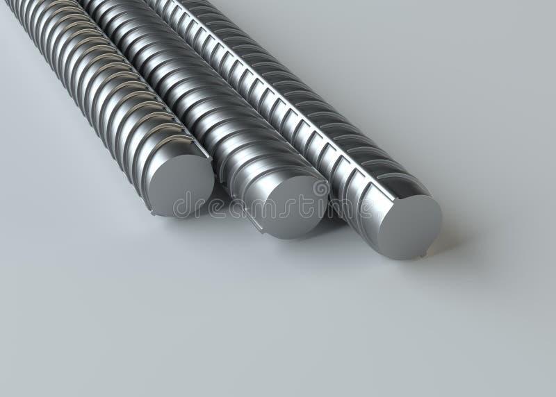Подкрепления металла, конец вверх перевод 3d иллюстрация вектора