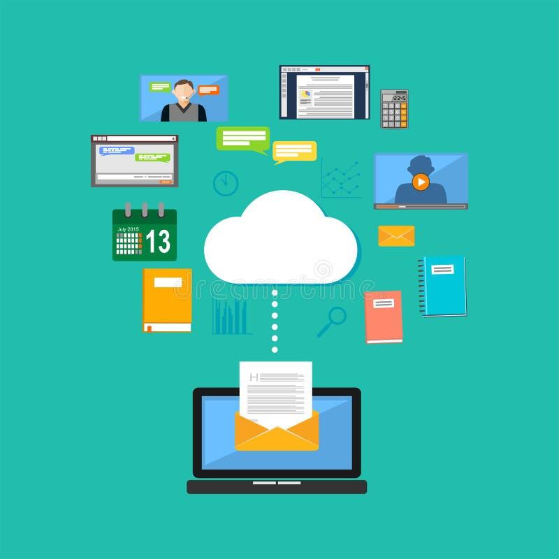 Подключение к концепции облака вычисляя Достигая содержание облака Содержание интернета мультимедиа иллюстрация штока