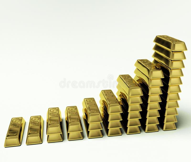 по мере того как богатство символа диаграммы золота штанг увеличивая иллюстрация штока