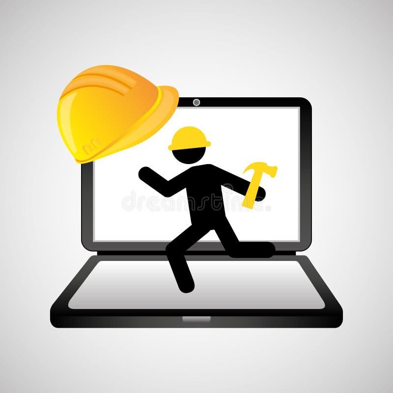 Под молотком работника интернет-страницы конструкции иллюстрация вектора
