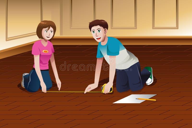 Пол молодых пар измеряя иллюстрация штока