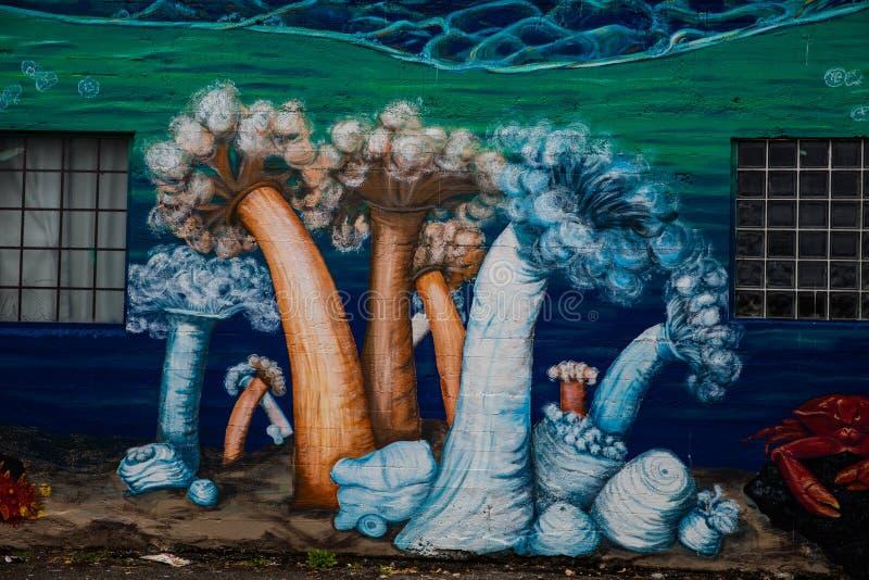 Под настенной росписью моря стоковое изображение