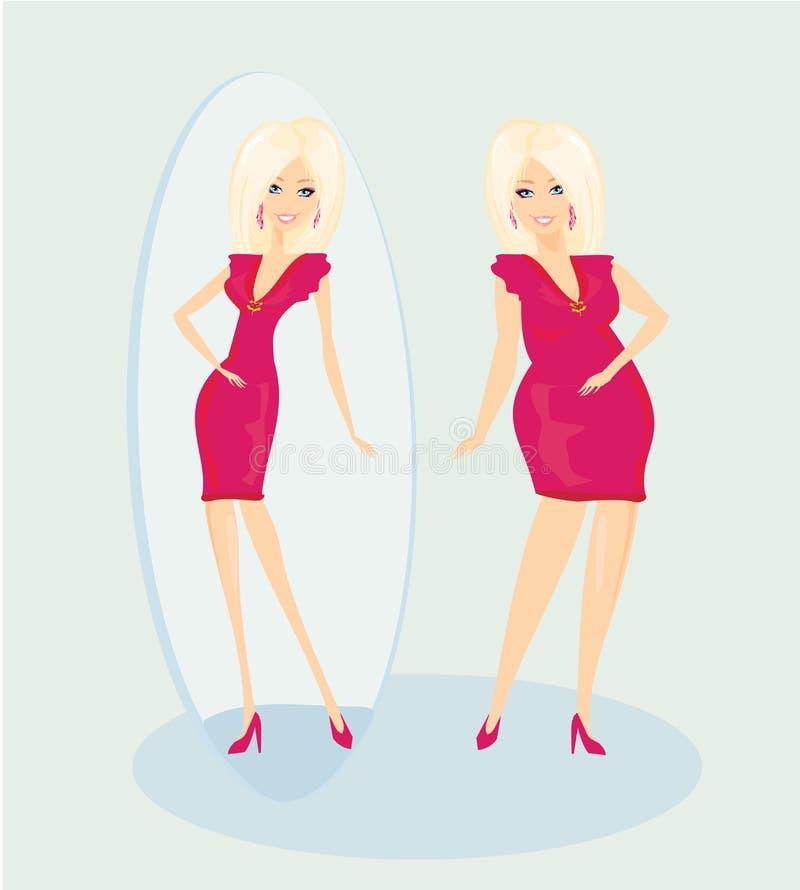 Полная дама наслаждается ее тонкий отражением иллюстрация штока
