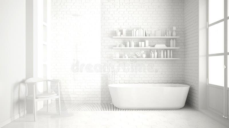 Полная белая классическая винтажная ванная комната с ушатом, минималистским interi стоковые изображения rf