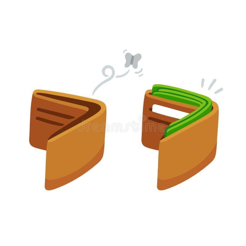 Полная и пустая иллюстрация бумажника иллюстрация вектора