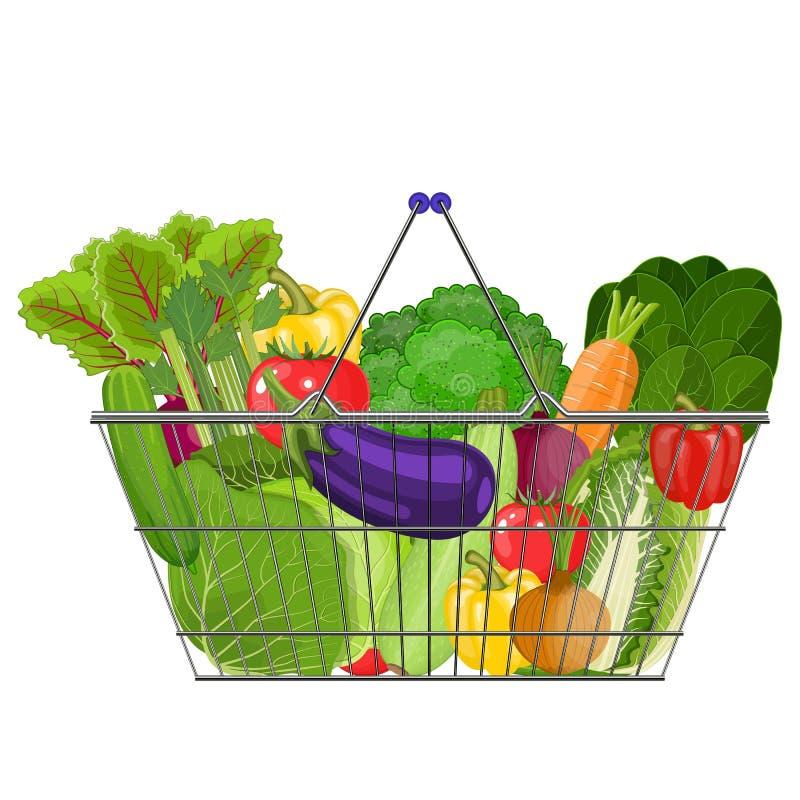 Полная корзина с различной здоровой едой бесплатная иллюстрация