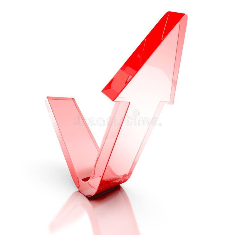 Поднимать вверх по красной стеклянной стрелке шарики габаритные 3 бесплатная иллюстрация