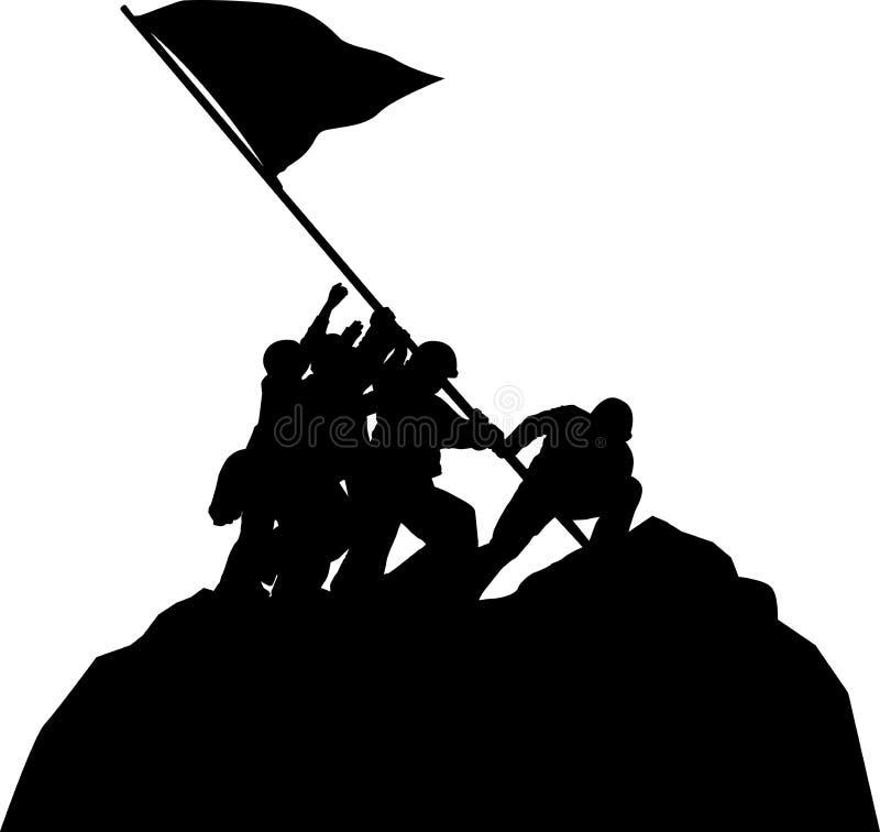 Поднимать флаг США на Ишо Жима иллюстрация штока
