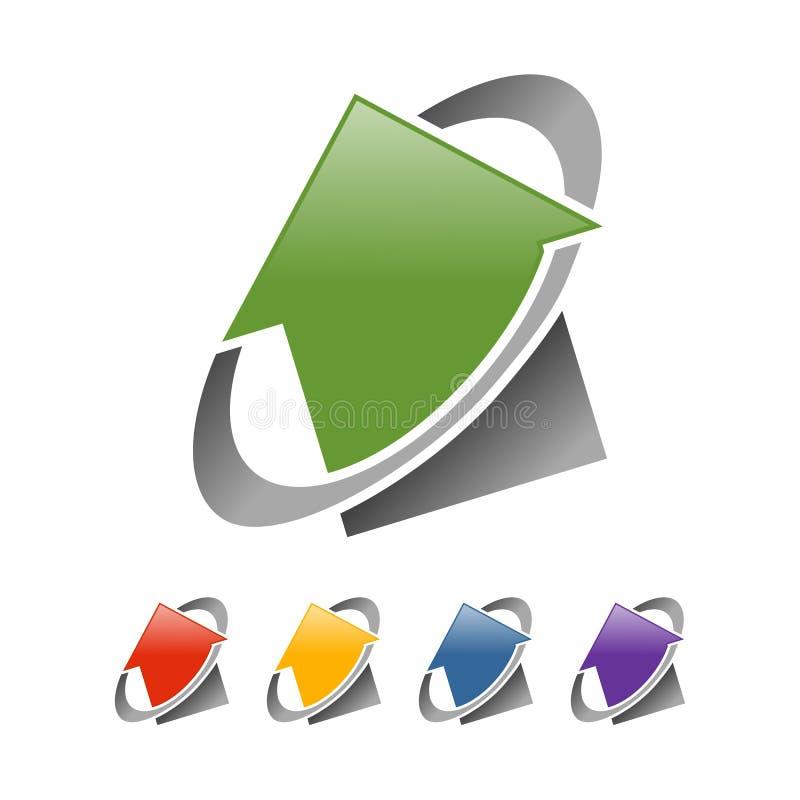 Поднимая глобальный шаблон логотипа сети недвижимости стоковые изображения