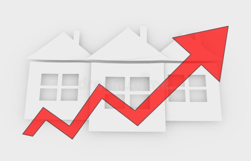 Поднимая цены недвижимости иллюстрация штока