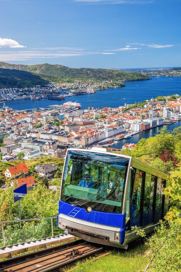 Поднимитесь к Floyen от Бергена Норвегии стоковые изображения