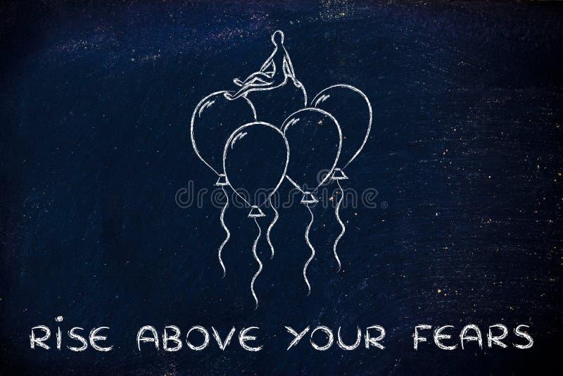 Поднимите над вашими страхами, персоной сидя на метафоре воздушных шаров fe стоковые фотографии rf