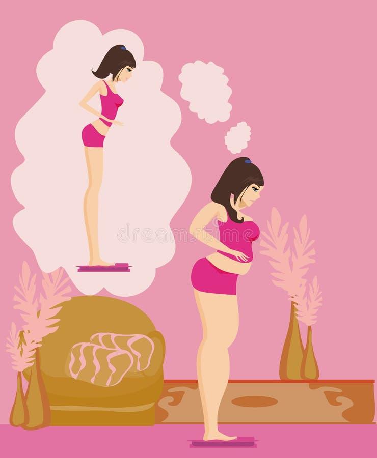 Полное брюнет девушки проверяя ее вес на масштабах иллюстрация вектора
