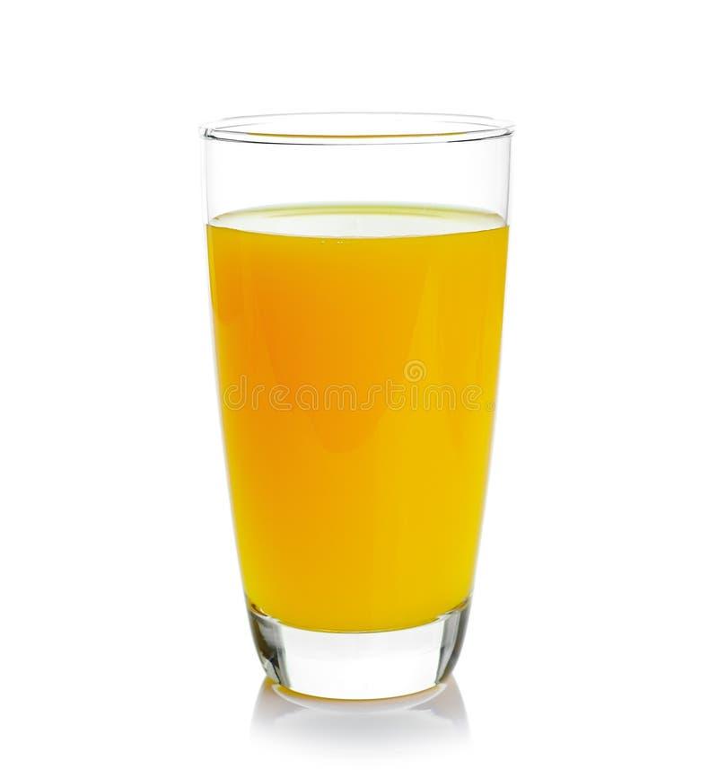 Полное стекло апельсинового сока на белой предпосылке стоковая фотография rf