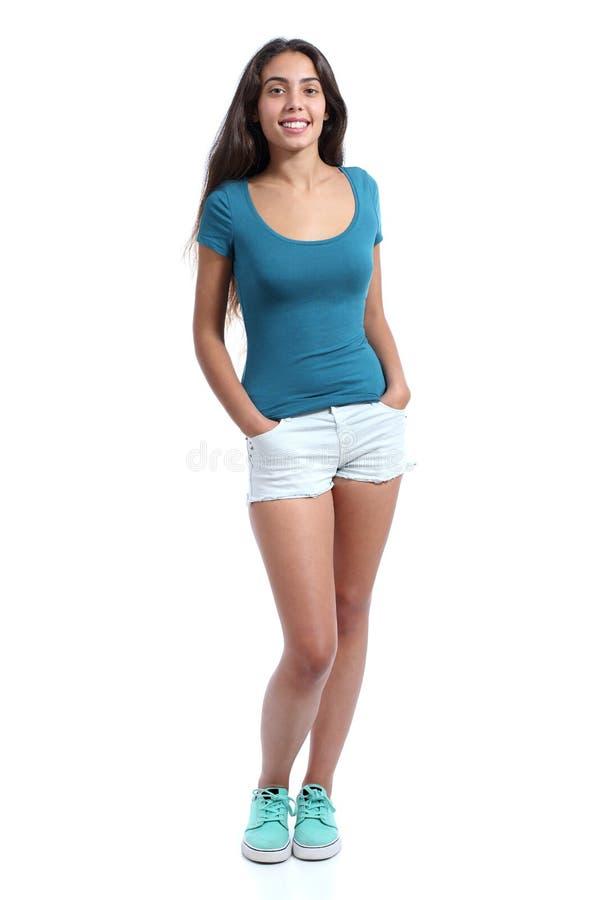 Полное тело стоящей милой девушки подростка стоковая фотография