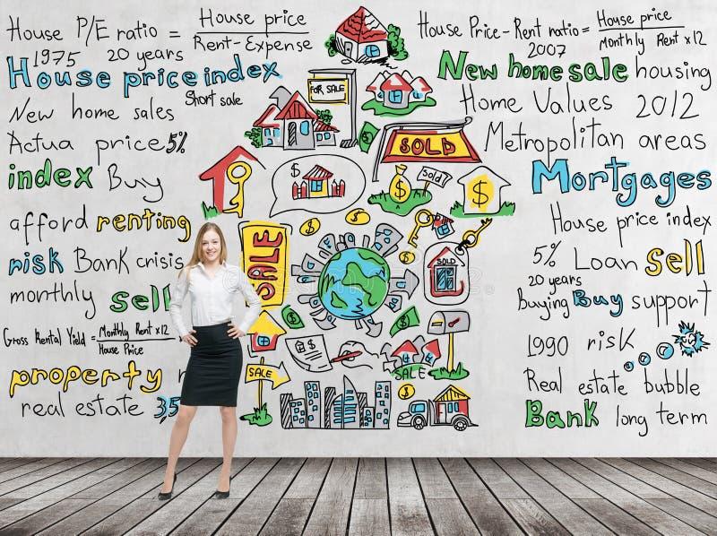 Полнометражная красивая женщина в официально одеждах с руками на значки внутренних продаж талии красочных 'нарисована на конкретн стоковые фото