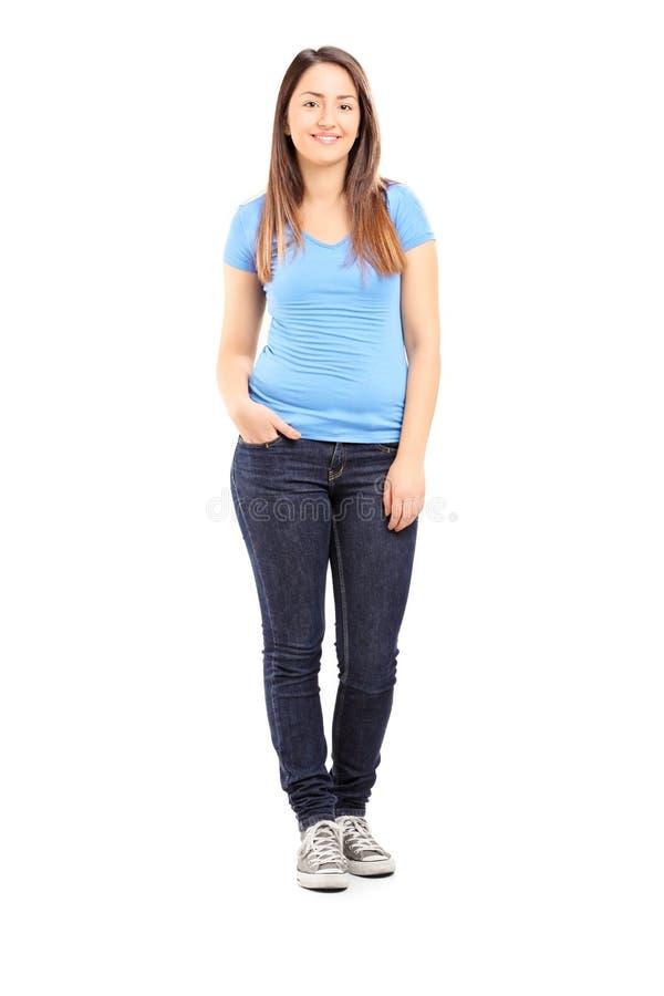 Полнометражный портрет представлять девочка-подростка стоковое изображение rf