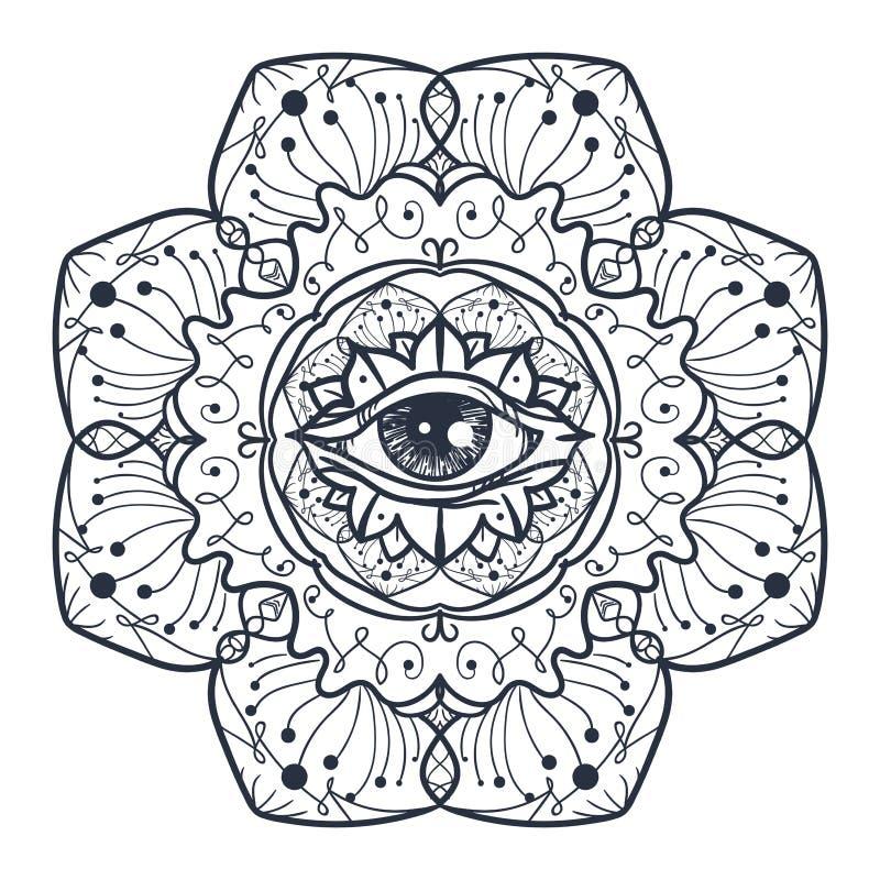 Полностью видя глаз в мандале иллюстрация штока
