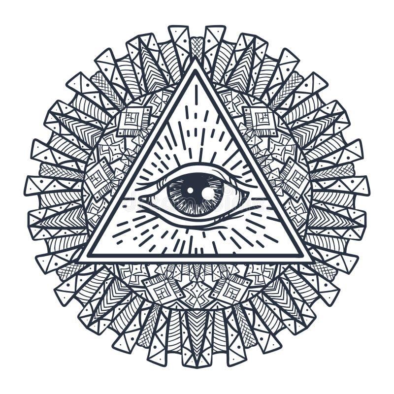 Полностью видя глаз в треугольнике и Mandal иллюстрация вектора