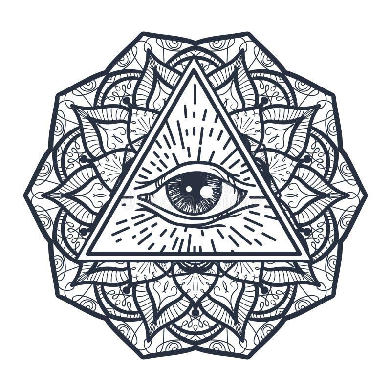 Полностью видя глаз в треугольнике и Mandal иллюстрация штока